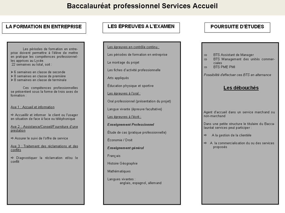 Baccalauréat professionnel Services Accueil