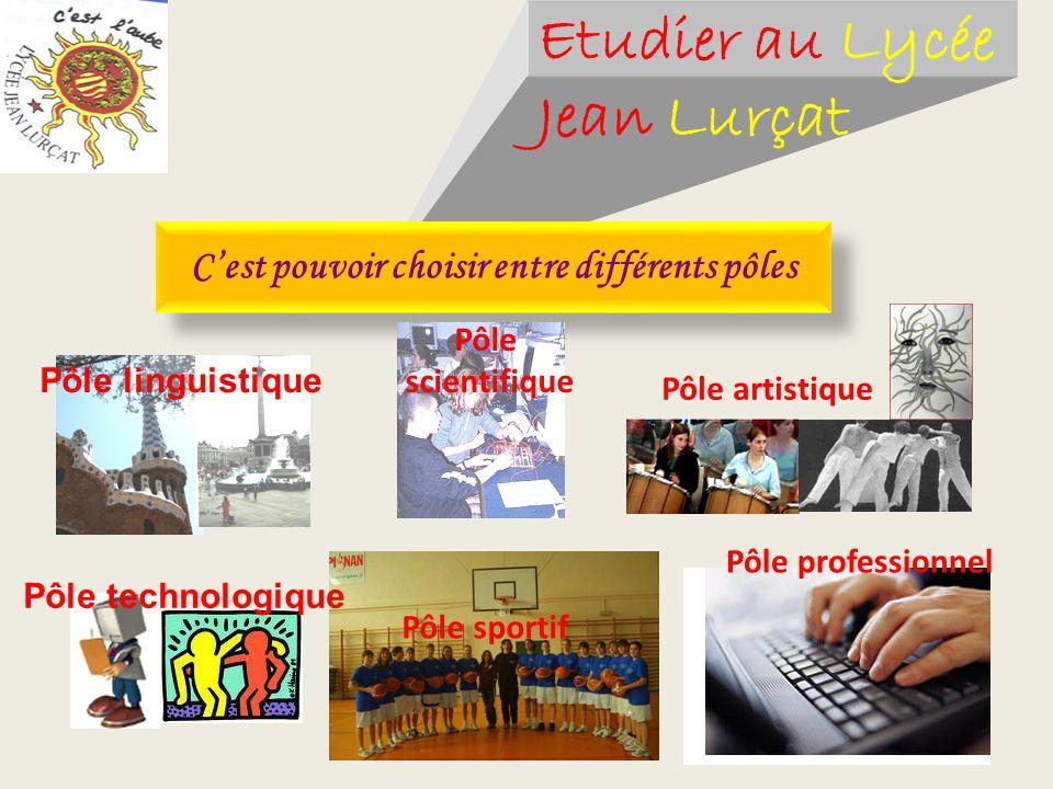 Etudier au Lycée Jean Lurçat Cest pouvoir choisir entre différents pôles Pôle scientifique Pôle sportif Pôle professionnel Pôle artistique Pôle techno