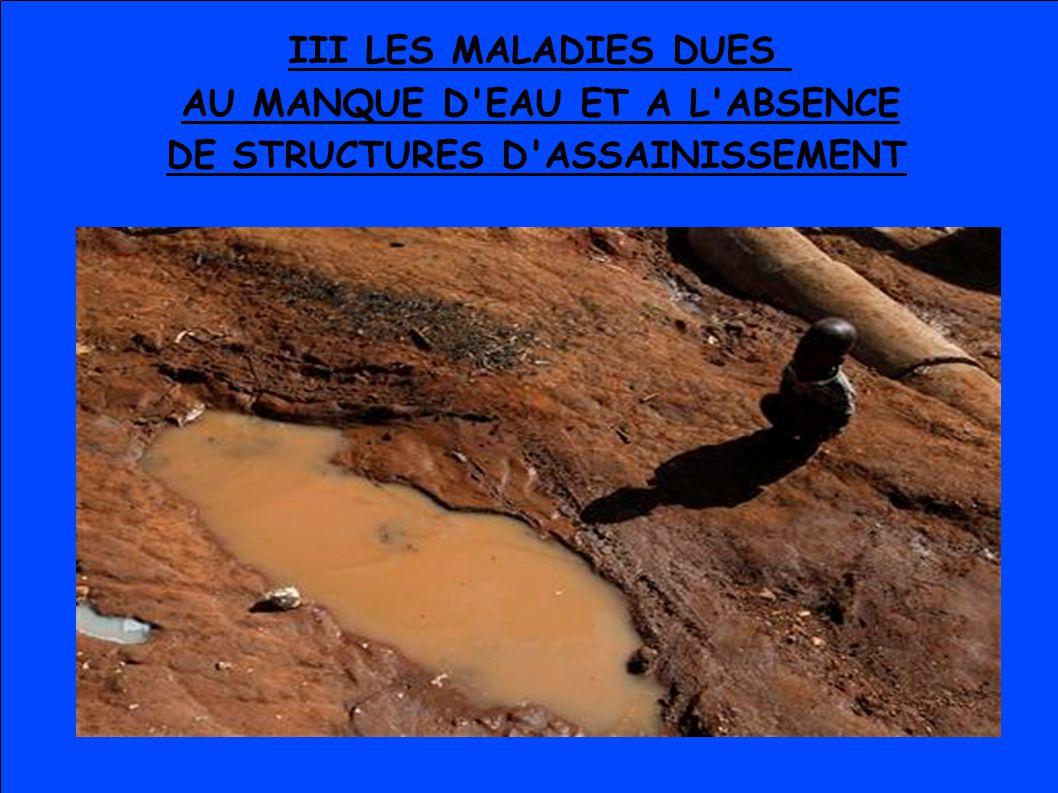 III LES MALADIES DUES AU MANQUE D EAU ET A L ABSENCE DE STRUCTURES D ASSAINISSEMENT