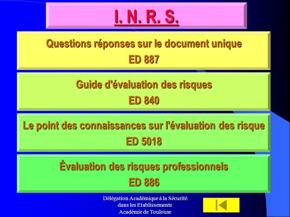 Délégation Académique à la Sécurité dans les Etablissements Académie de Toulouse I. N. R. S. I. N. R. S. Questions réponses sur le document unique Que