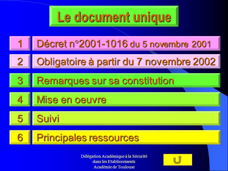 Délégation Académique à la Sécurité dans les Etablissements Académie de Toulouse Le document unique 5555 1111 3333 4444 2222 6666 Suivi Remarques sur