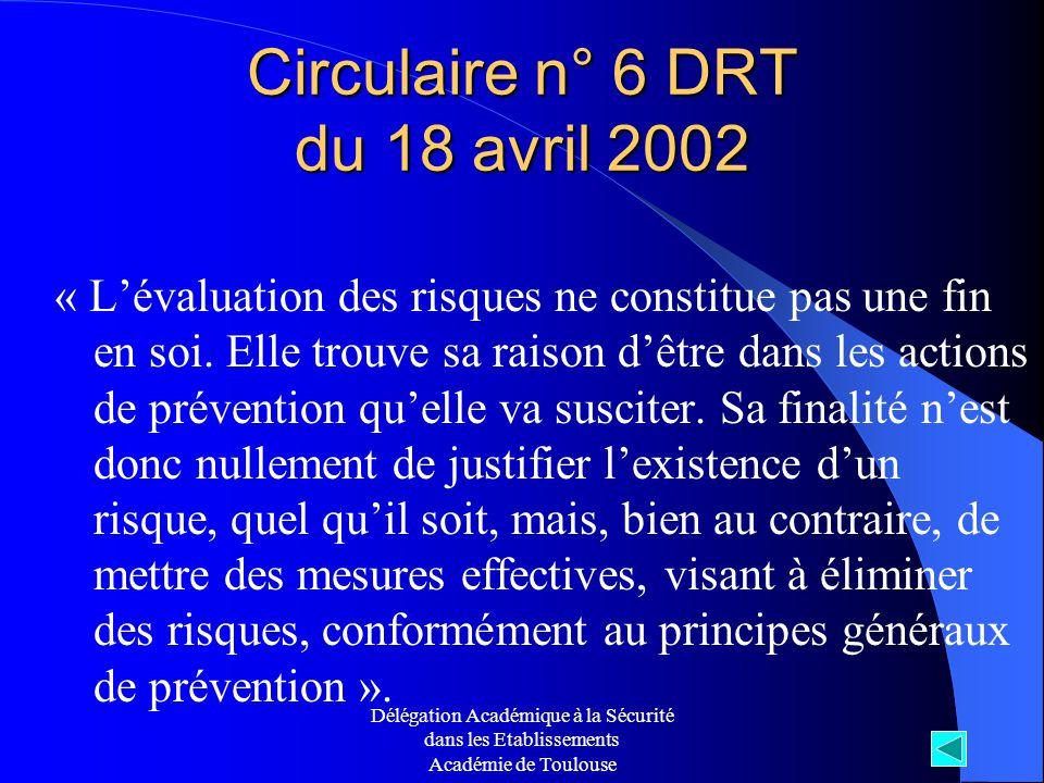 Délégation Académique à la Sécurité dans les Etablissements Académie de Toulouse Circulaire n° 6 DRT du 18 avril 2002 « Lévaluation des risques ne con