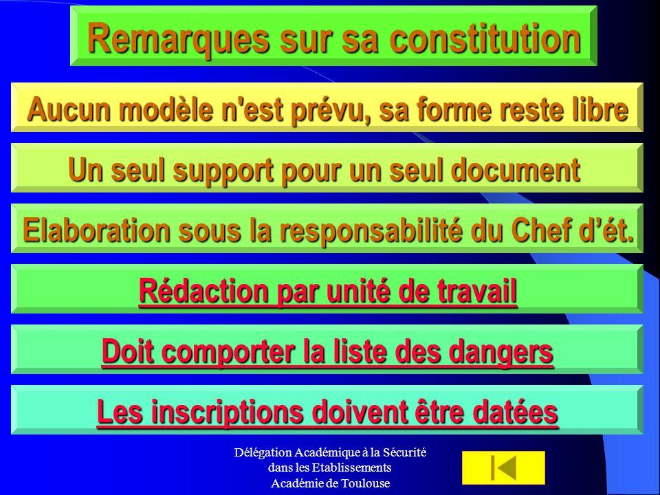Délégation Académique à la Sécurité dans les Etablissements Académie de Toulouse Remarques sur sa constitution Aucun modèle n'est prévu, sa forme rest