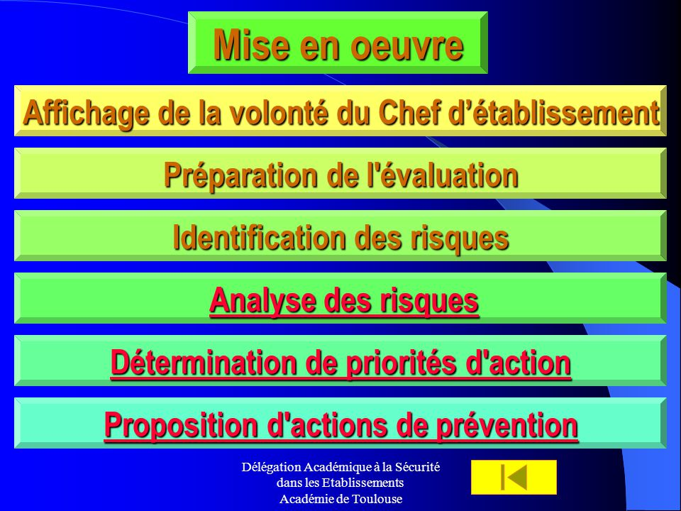 Délégation Académique à la Sécurité dans les Etablissements Académie de Toulouse Mise en oeuvre Affichage de la volonté du Chef détablissement Analyse