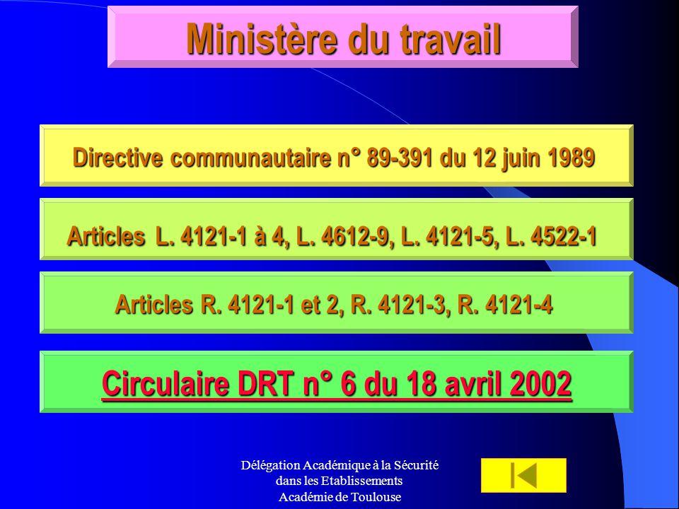 Délégation Académique à la Sécurité dans les Etablissements Académie de Toulouse Ministère du travail Directive communautaire n° 89-391 du 12 juin 198