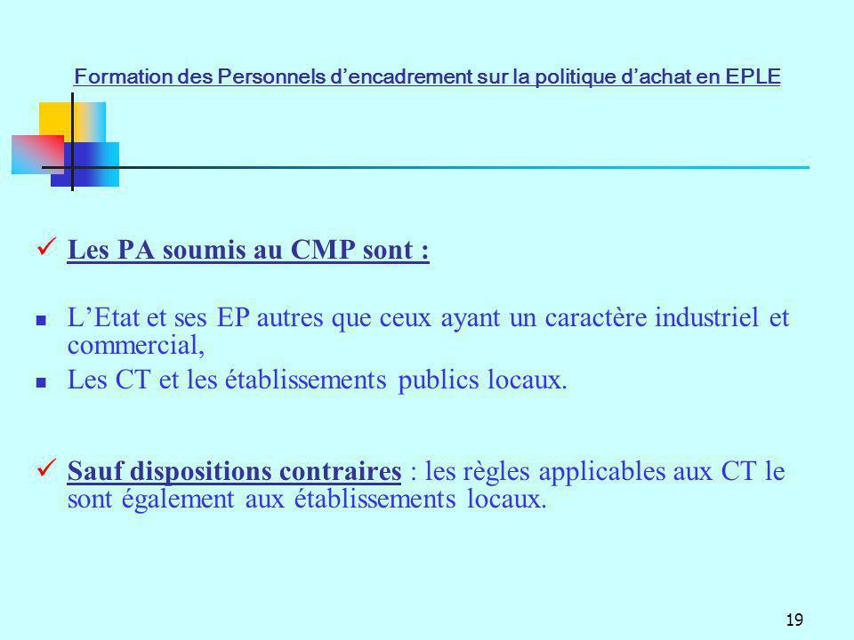 19 Les PA soumis au CMP sont : LEtat et ses EP autres que ceux ayant un caractère industriel et commercial, Les CT et les établissements publics locau