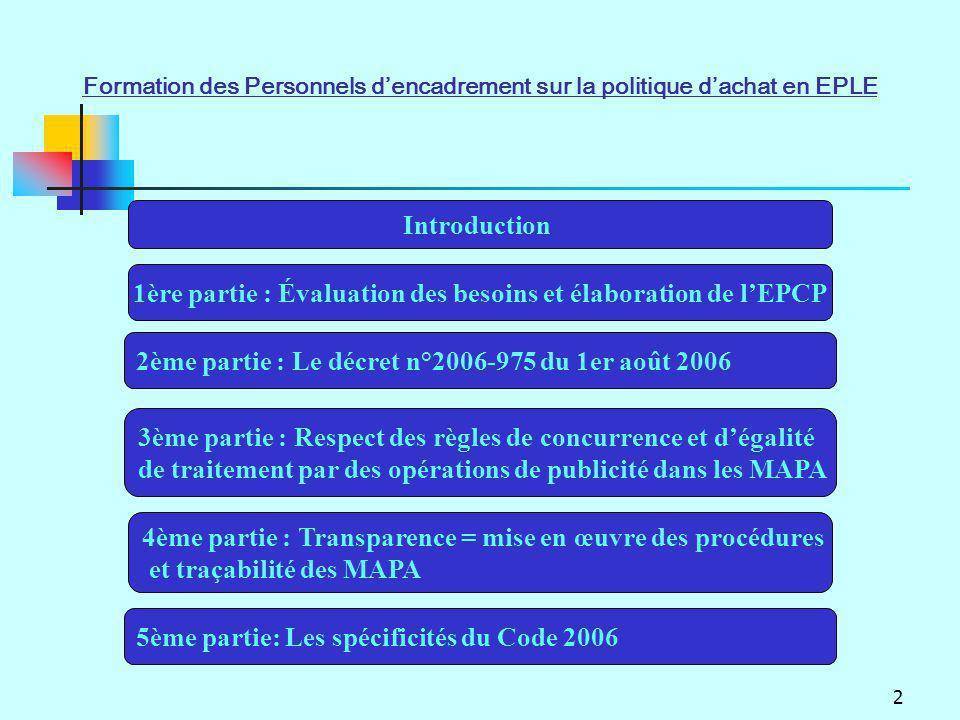2 Introduction 1ère partie : Évaluation des besoins et élaboration de lEPCP 2ème partie : Le décret n°2006-975 du 1er août 2006 4ème partie : Transpar