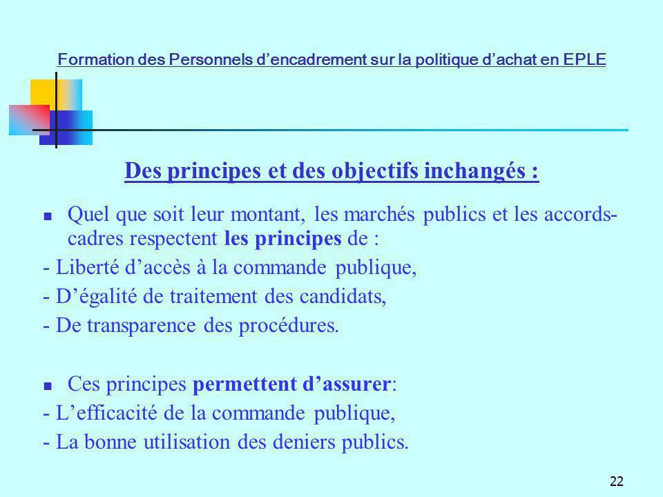 22 Des principes et des objectifs inchangés : Quel que soit leur montant, les marchés publics et les accords- cadres respectent les principes de : - L