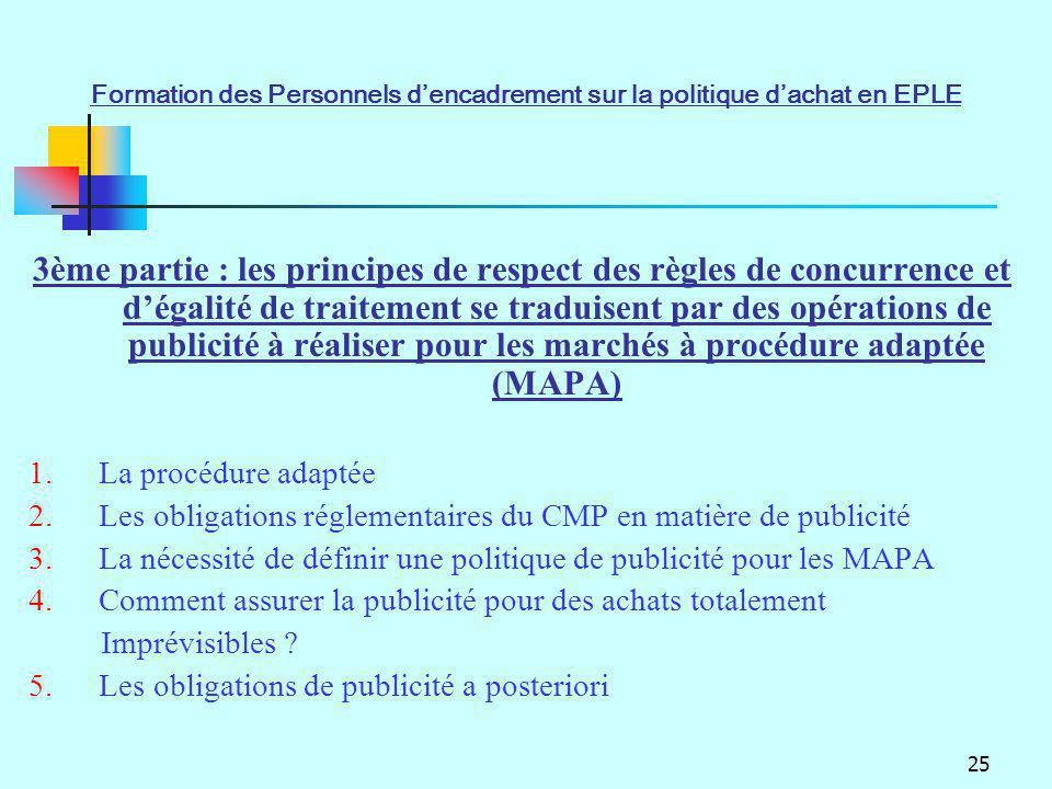 25 3ème partie : les principes de respect des règles de concurrence et dégalité de traitement se traduisent par des opérations de publicité à réaliser