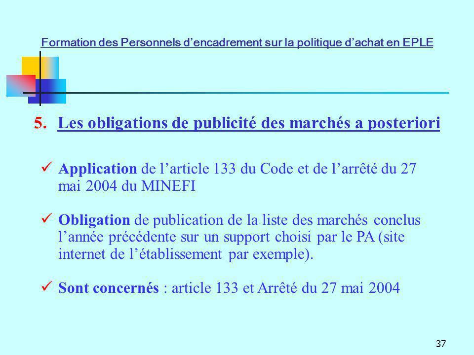 37 5.Les obligations de publicité des marchés a posteriori Application de larticle 133 du Code et de larrêté du 27 mai 2004 du MINEFI Obligation de pu