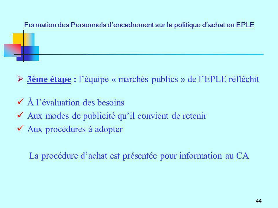 44 3ème étape : léquipe « marchés publics » de lEPLE réfléchit À lévaluation des besoins Aux modes de publicité quil convient de retenir Aux procédure
