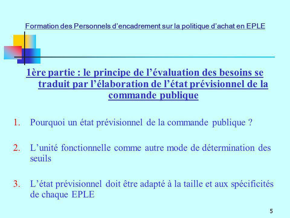 5 1ère partie : le principe de lévaluation des besoins se traduit par lélaboration de létat prévisionnel de la commande publique 1.Pourquoi un état pr