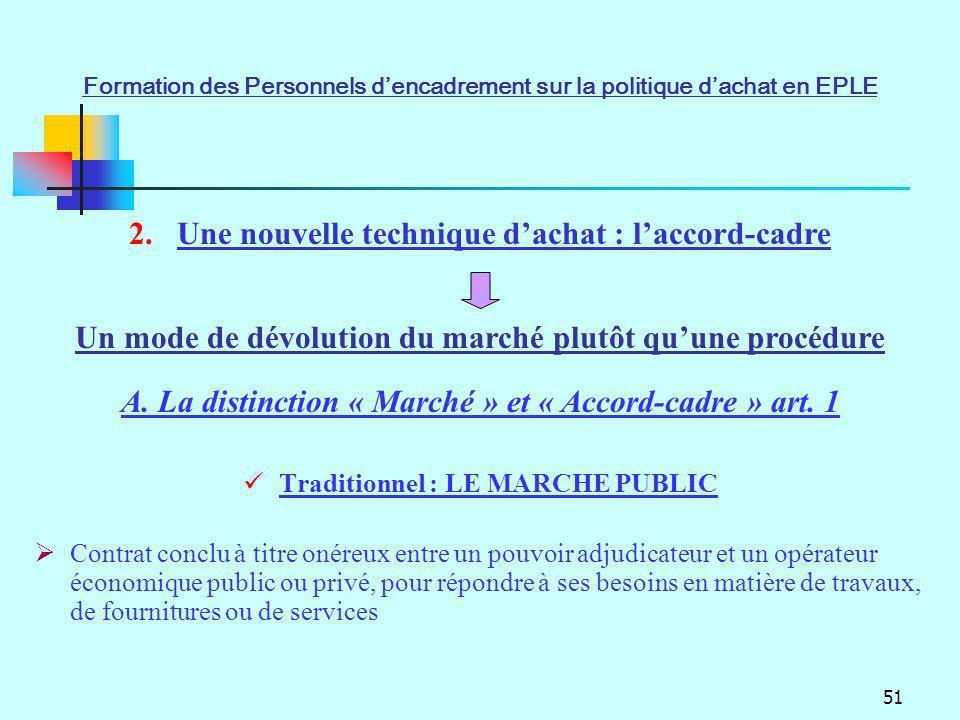 51 Traditionnel : LE MARCHE PUBLIC Contrat conclu à titre onéreux entre un pouvoir adjudicateur et un opérateur économique public ou privé, pour répon