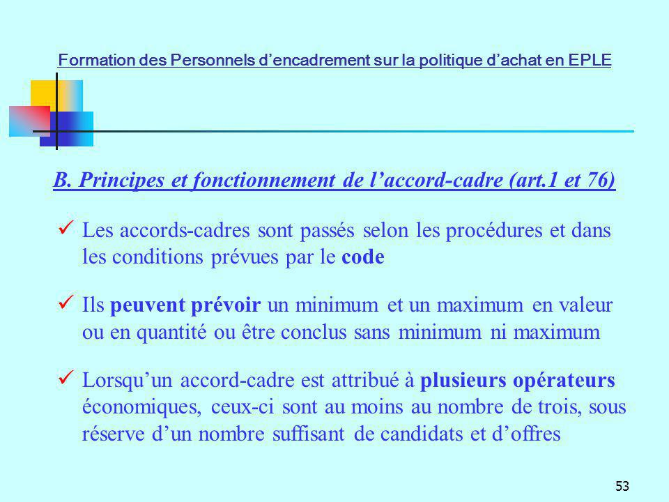 53 B. Principes et fonctionnement de laccord-cadre (art.1 et 76) Les accords-cadres sont passés selon les procédures et dans les conditions prévues pa
