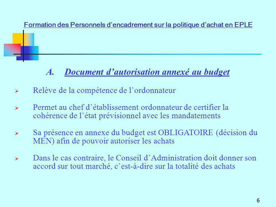 6 A.Document dautorisation annexé au budget Relève de la compétence de lordonnateur Permet au chef détablissement ordonnateur de certifier la cohérenc
