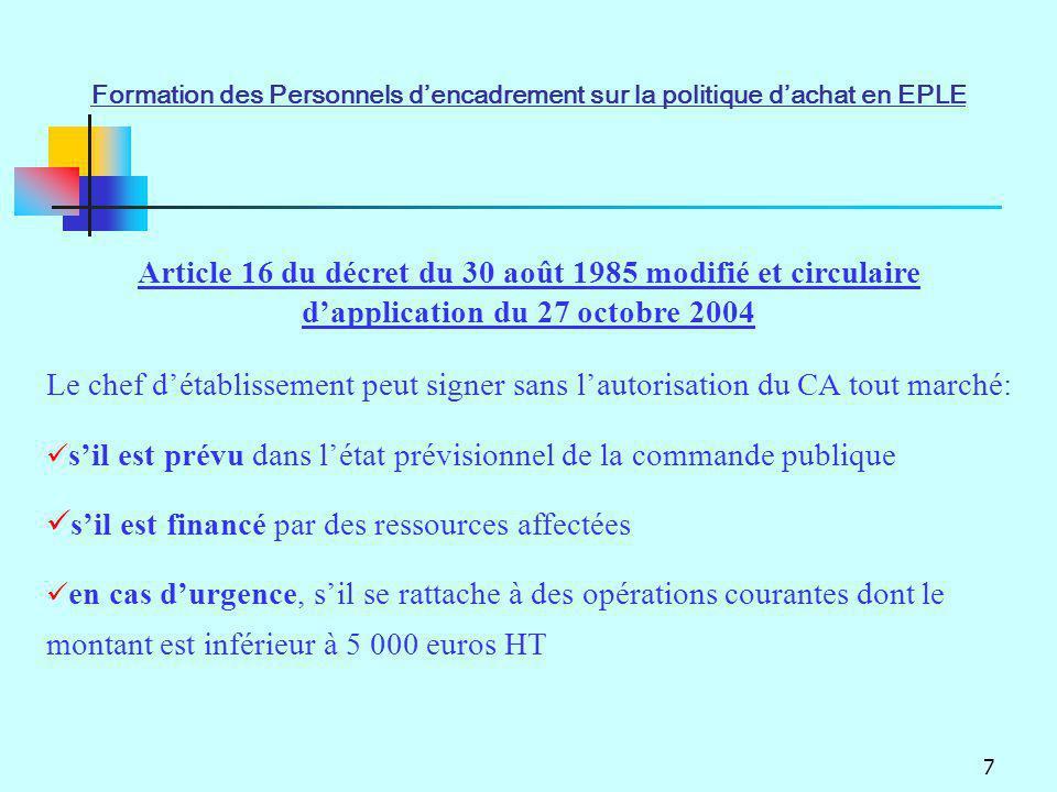 7 Article 16 du décret du 30 août 1985 modifié et circulaire dapplication du 27 octobre 2004 Le chef détablissement peut signer sans lautorisation du