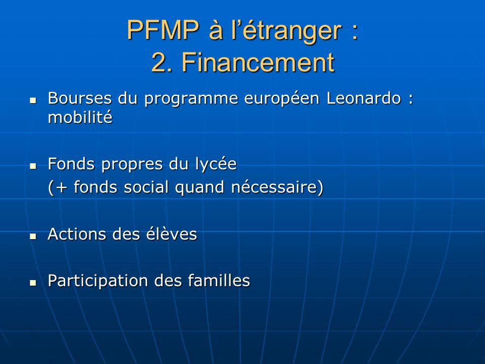 PFMP à létranger : 2. Financement Bourses du programme européen Leonardo : mobilité Bourses du programme européen Leonardo : mobilité Fonds propres du
