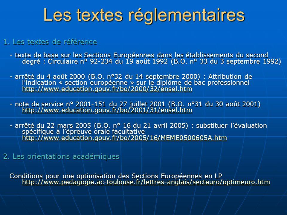 Les textes réglementaires - texte de base sur les Sections Européennes dans les établissements du second degré : Circulaire n° 92-234 du 19 août 1992