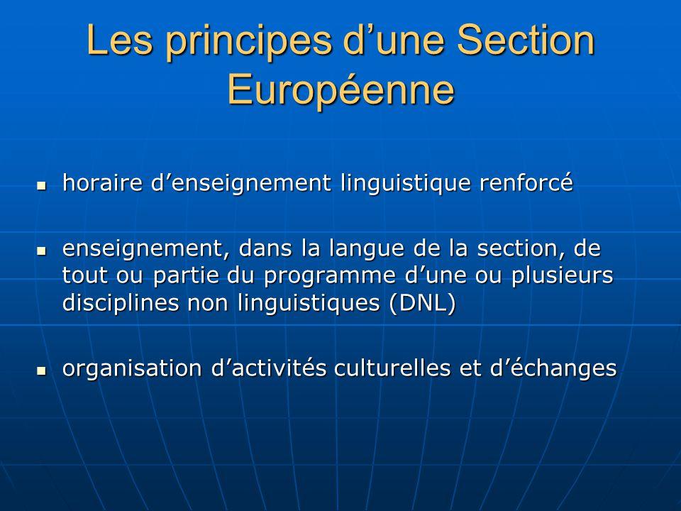 Les principes dune Section Européenne horaire denseignement linguistique renforcé horaire denseignement linguistique renforcé enseignement, dans la la