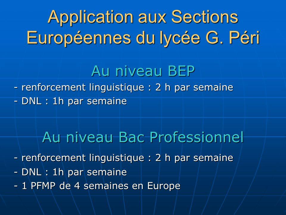 Application aux Sections Européennes du lycée G. Péri Au niveau BEP - renforcement linguistique : 2 h par semaine - DNL : 1h par semaine Au niveau Bac