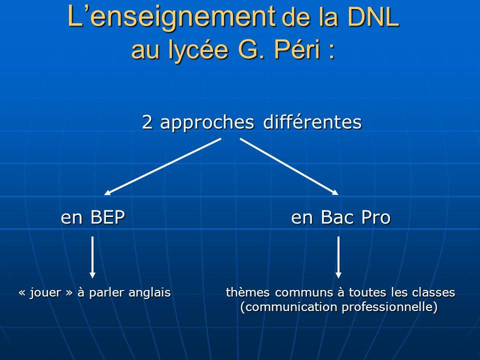 Lenseignement de la DNL au lycée G. Péri : en BEP 2 approches différentes en Bac Pro « jouer » à parler anglais thèmes communs à toutes les classes (c