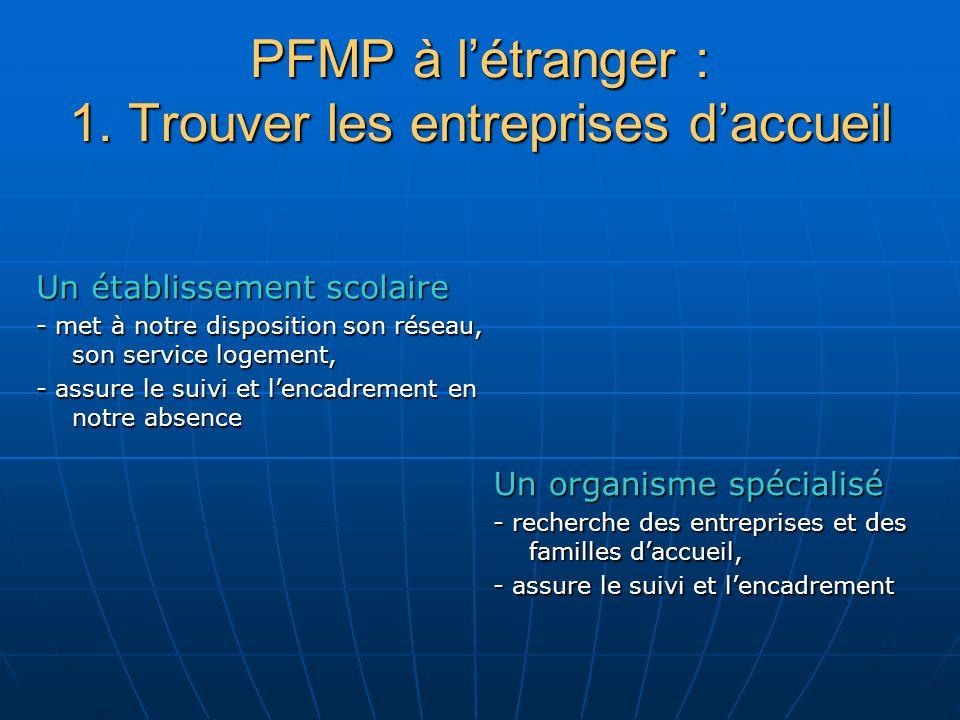PFMP à létranger : 1. Trouver les entreprises daccueil Un établissement scolaire - met à notre disposition son réseau, son service logement, - assure