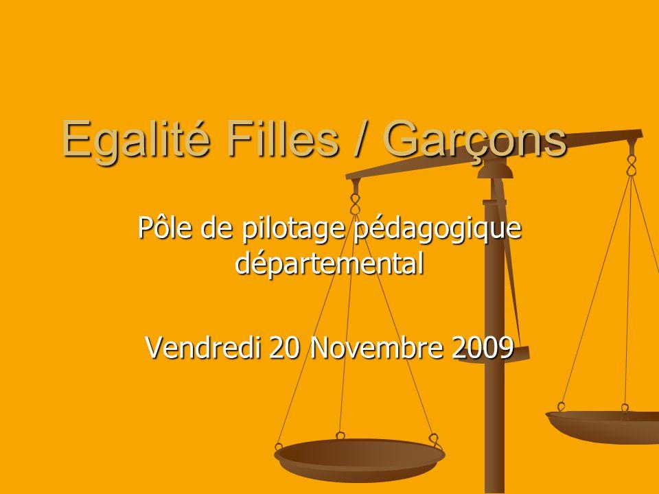 Egalité Filles / Garçons Pôle de pilotage pédagogique départemental Vendredi 20 Novembre 2009