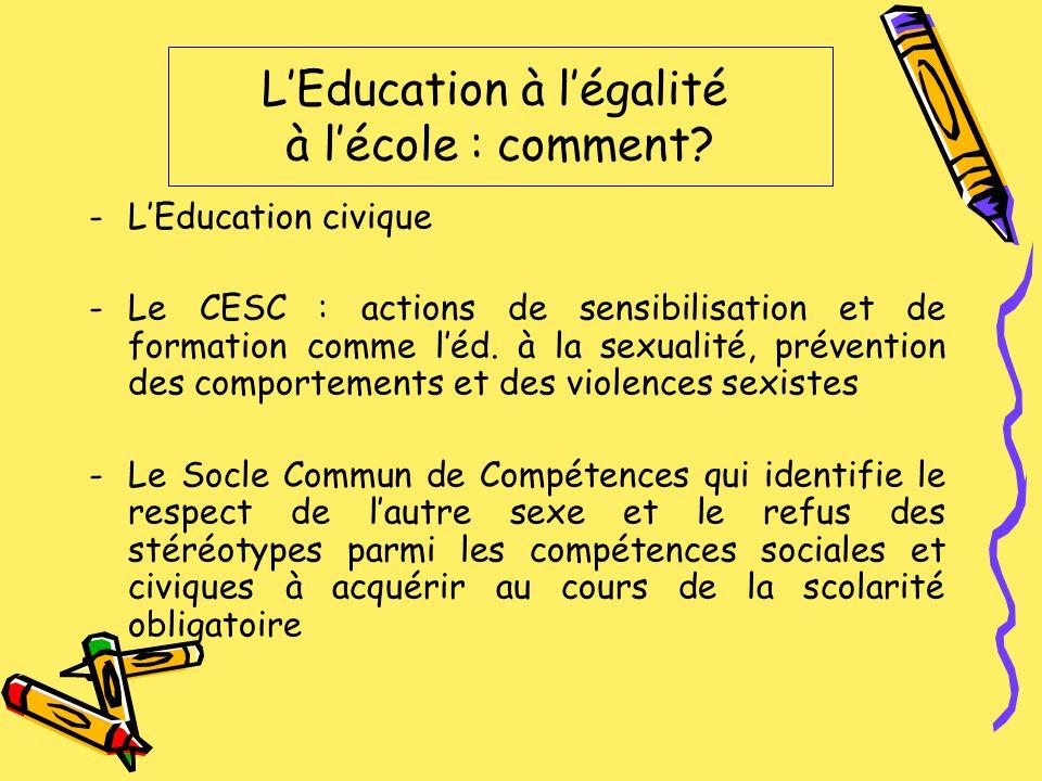 -LEducation civique -Le CESC : actions de sensibilisation et de formation comme léd. à la sexualité, prévention des comportements et des violences sex