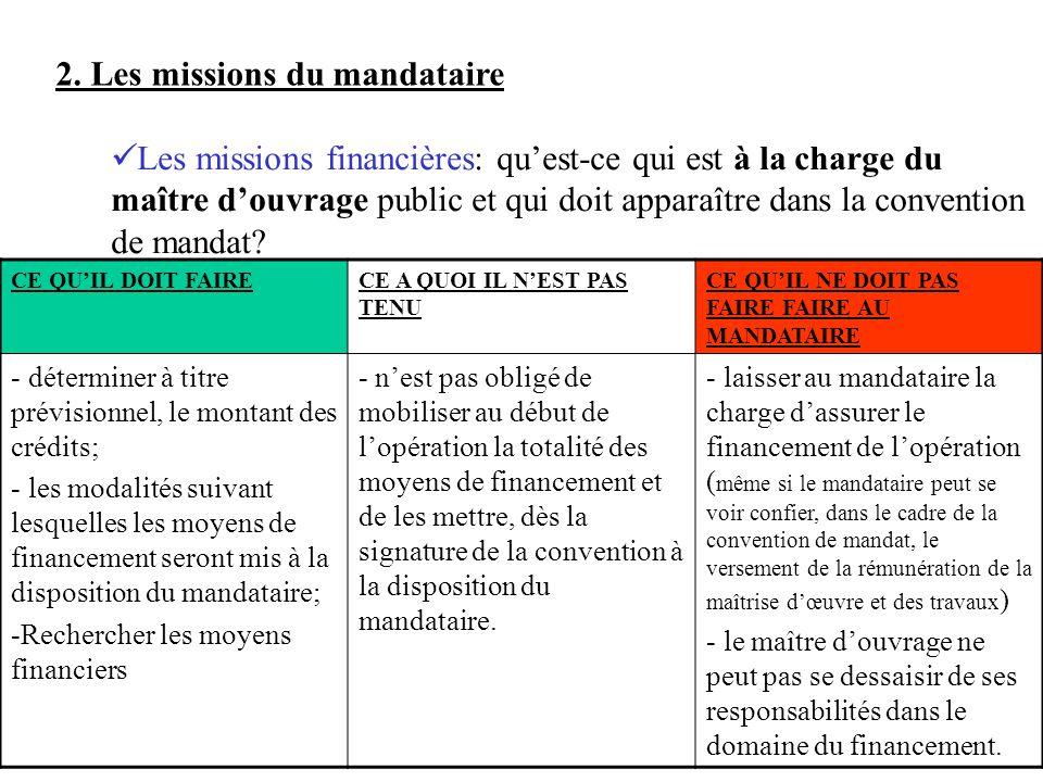 2. Les missions du mandataire Les missions financières: quest-ce qui est à la charge du maître douvrage public et qui doit apparaître dans la conventi