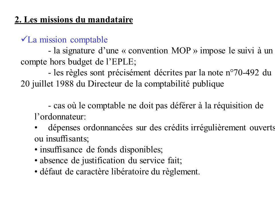 2. Les missions du mandataire La mission comptable - la signature dune « convention MOP » impose le suivi à un compte hors budget de lEPLE; - les règl