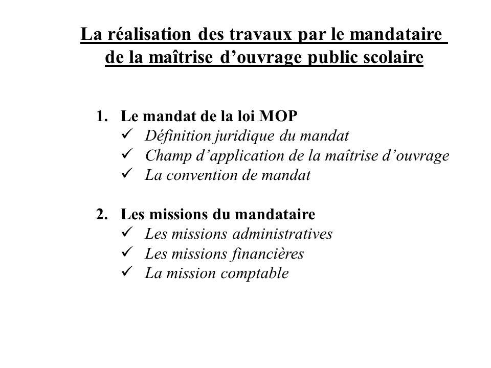 La réalisation des travaux par le mandataire de la maîtrise douvrage public scolaire 1.Le mandat de la loi MOP Définition juridique du mandat Champ da
