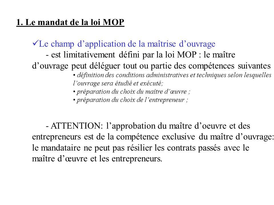 1. Le mandat de la loi MOP Le champ dapplication de la maîtrise douvrage - est limitativement défini par la loi MOP : le maître douvrage peut déléguer