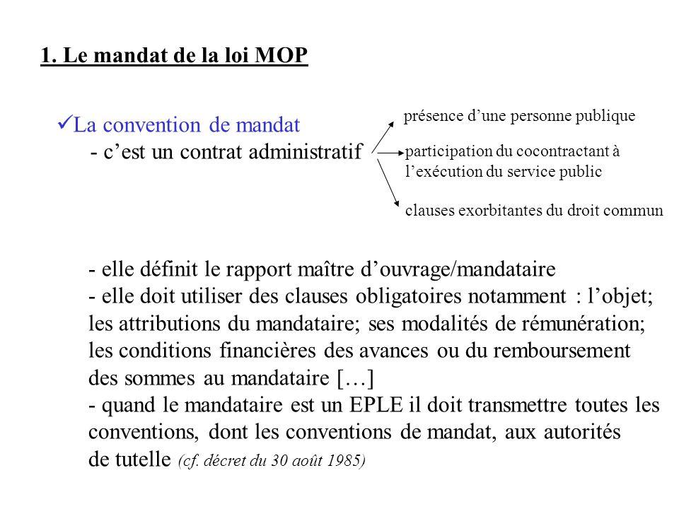 1. Le mandat de la loi MOP La convention de mandat - cest un contrat administratif présence dune personne publique participation du cocontractant à le