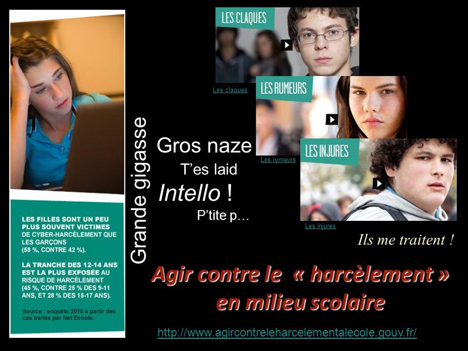Agir contre le « harcèlement » en milieu scolaire http://www.agircontreleharcelementalecole.gouv.fr/ Les claques Les rumeurs Les injures Gros naze Pti