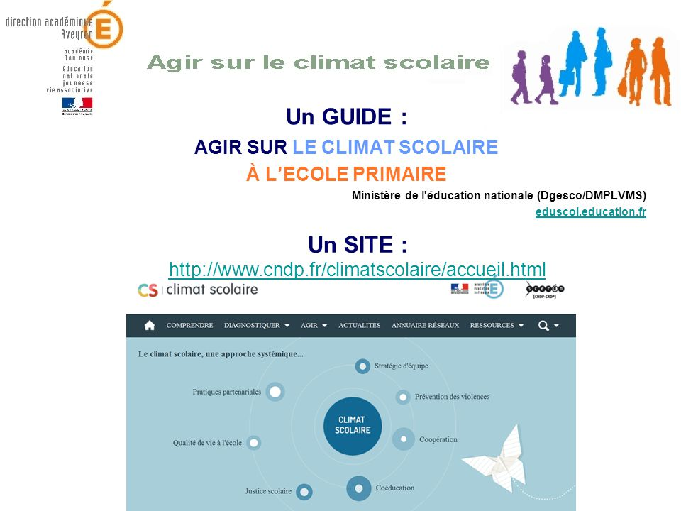 Un GUIDE : AGIR SUR LE CLIMAT SCOLAIRE À LECOLE PRIMAIRE Ministère de l'éducation nationale (Dgesco/DMPLVMS) eduscol.education.fr Un SITE : http://www