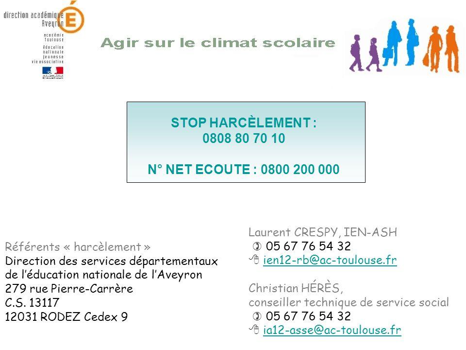 Laurent CRESPY, IEN-ASH 05 67 76 54 32 ien12-rb@ac-toulouse.fr Christian HÉRÈS, conseiller technique de service social 05 67 76 54 32 ia12-asse@ac-tou