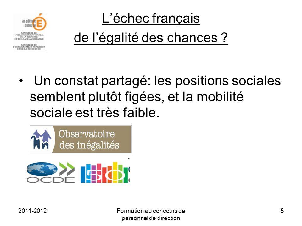 2011-2012Formation au concours de personnel de direction 6 Léchec français de légalité des chances Légalité des chances une fiction .