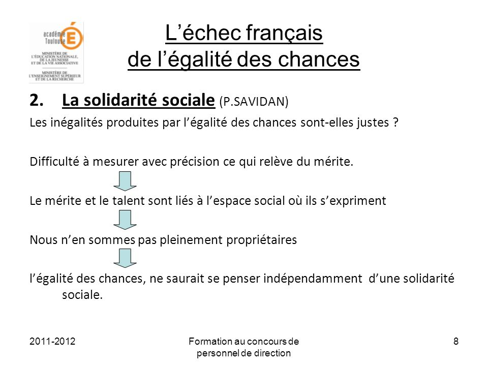 2011-2012Formation au concours de personnel de direction 8 Léchec français de légalité des chances 2.La solidarité sociale (P.SAVIDAN) Les inégalités produites par légalité des chances sont-elles justes .