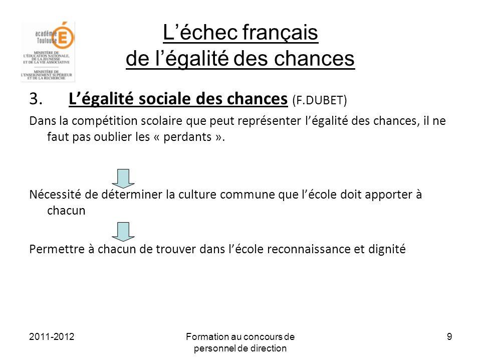 2011-2012Formation au concours de personnel de direction 10 IV) Quelles déclinaisons de légalité des chances pour lEPLE .