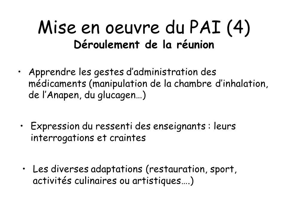 Mise en oeuvre du PAI (4) Déroulement de la réunion Apprendre les gestes dadministration des médicaments (manipulation de la chambre dinhalation, de l