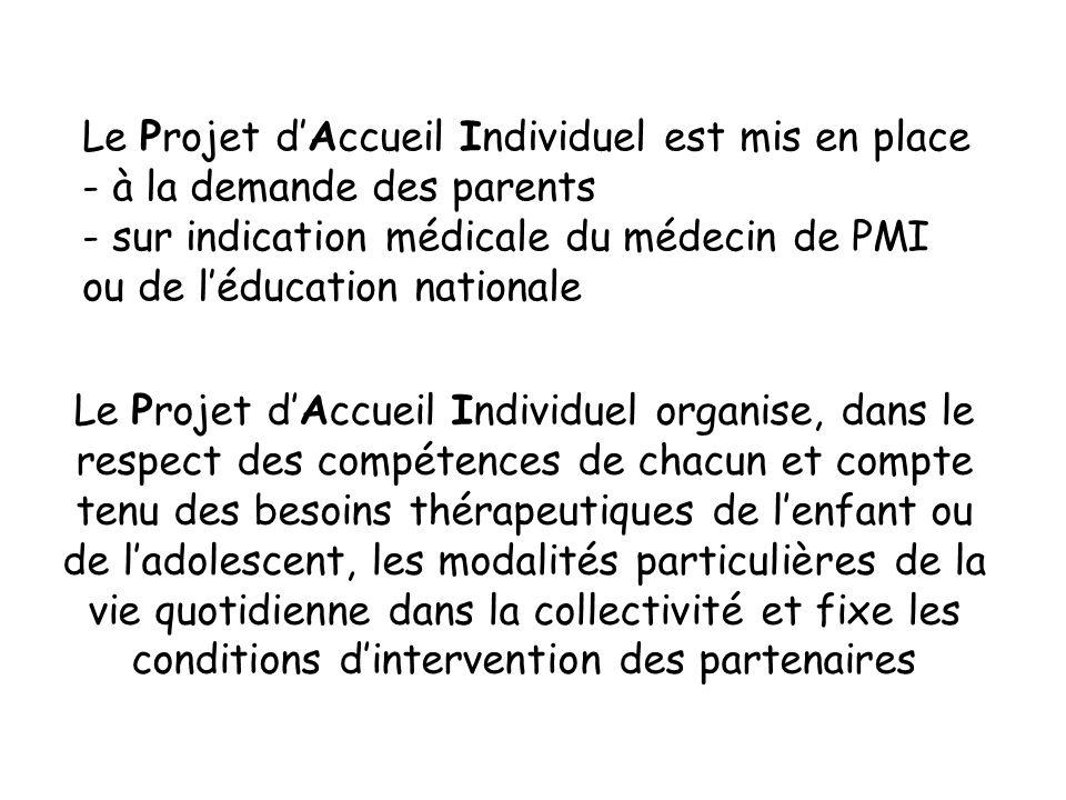 Le Projet dAccueil Individuel organise, dans le respect des compétences de chacun et compte tenu des besoins thérapeutiques de lenfant ou de ladolesce