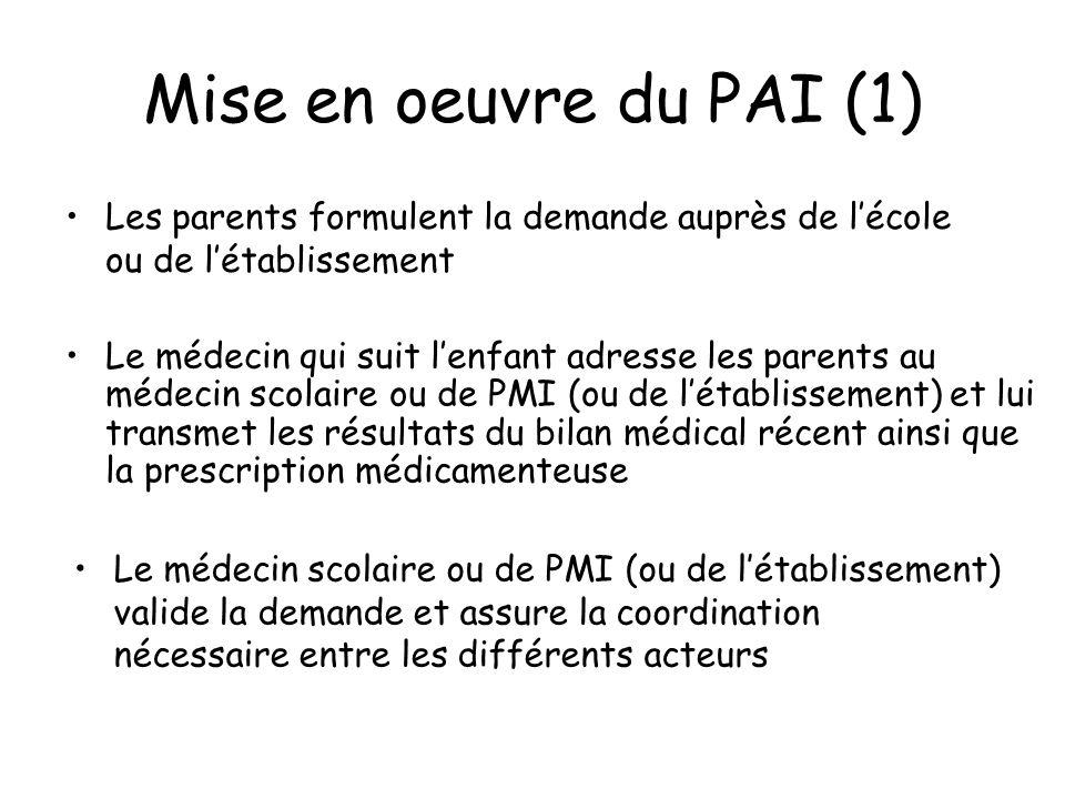 Mise en oeuvre du PAI (1) Le médecin qui suit lenfant adresse les parents au médecin scolaire ou de PMI (ou de létablissement) et lui transmet les rés