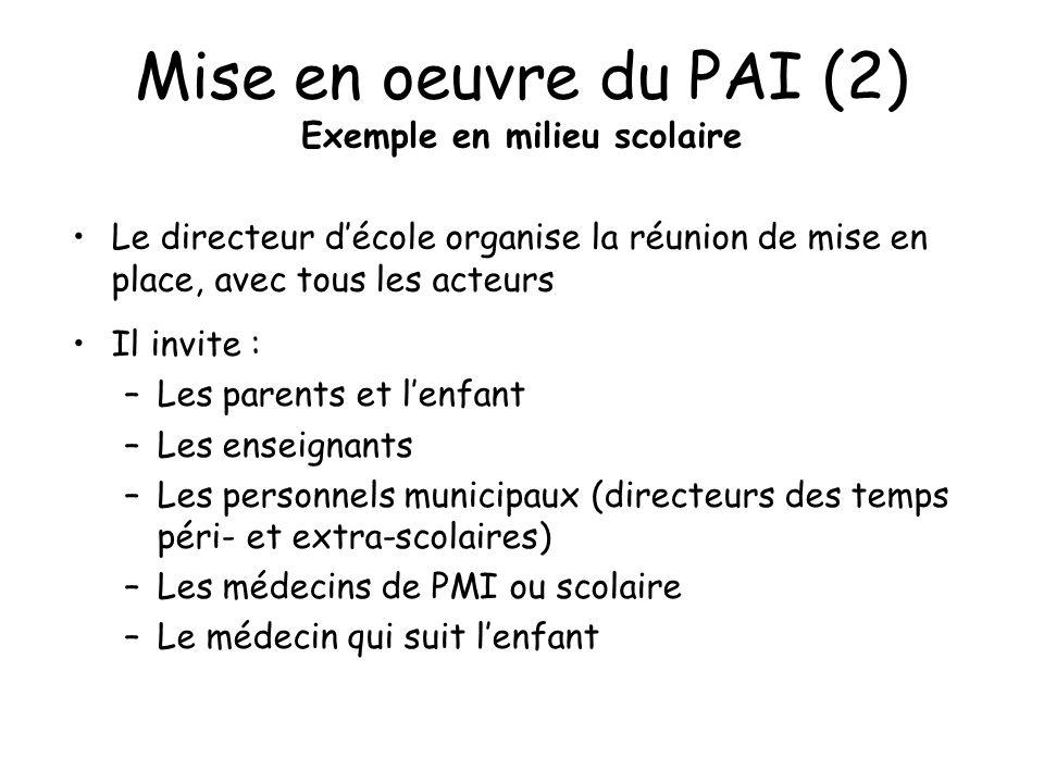 Mise en oeuvre du PAI (2) Exemple en milieu scolaire Le directeur décole organise la réunion de mise en place, avec tous les acteurs Il invite : –Les