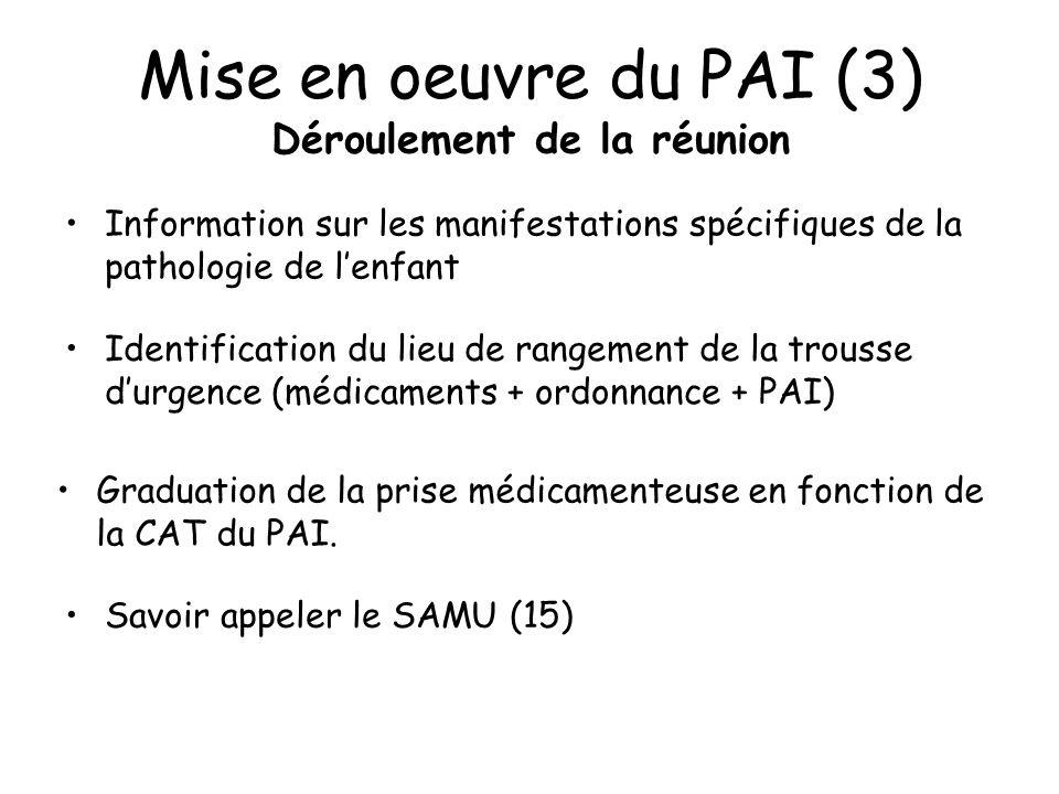 Mise en oeuvre du PAI (3) Déroulement de la réunion Information sur les manifestations spécifiques de la pathologie de lenfant Identification du lieu de rangement de la trousse durgence (médicaments + ordonnance + PAI) Graduation de la prise médicamenteuse en fonction de la CAT du PAI.
