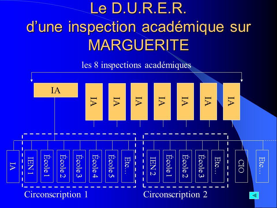 IA École 1IEN 1École 2École 3École 4École 5Etc…École 1IEN 2École 2École 3Etc…CIOEtc… Circonscription 1Circonscription 2 IA Le D.U.R.E.R. dune inspecti