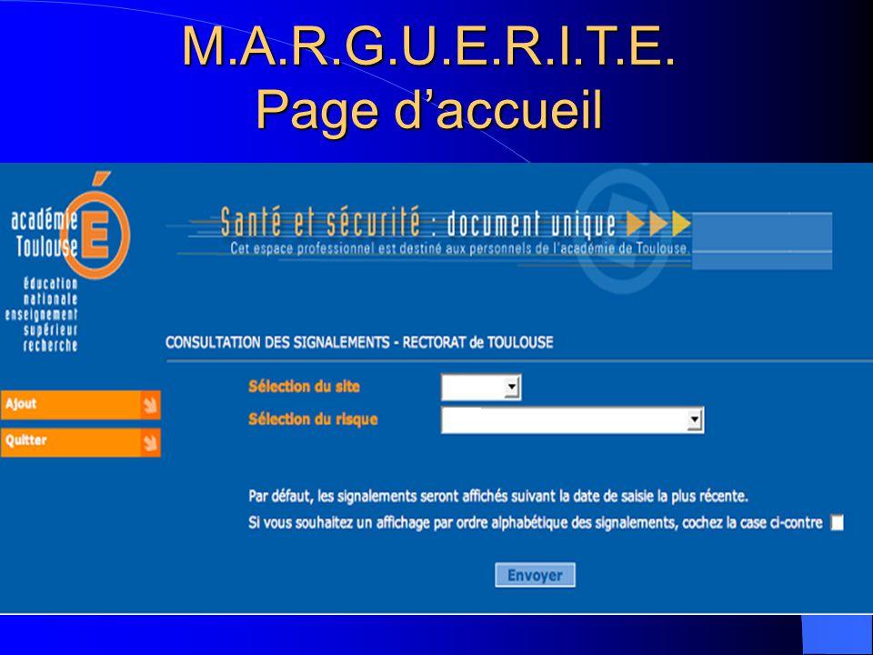 M.A.R.G.U.E.R.I.T.E. Page daccueil