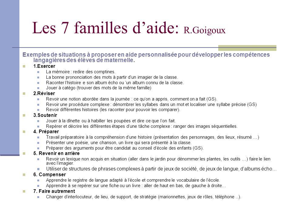 Les 7 familles daide: R.Goigoux Exemples de situations à proposer en aide personnalisée pour développer les compétences langagières des élèves de mate