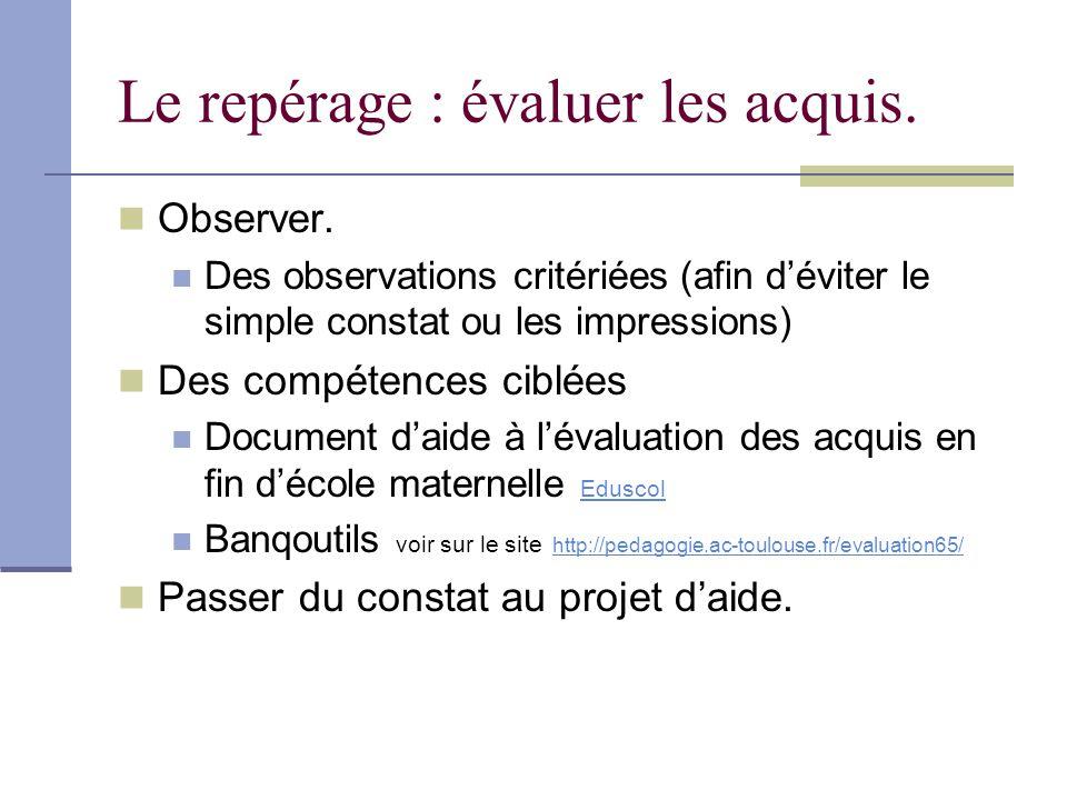 Le repérage : évaluer les acquis. Observer. Des observations critériées (afin déviter le simple constat ou les impressions) Des compétences ciblées Do