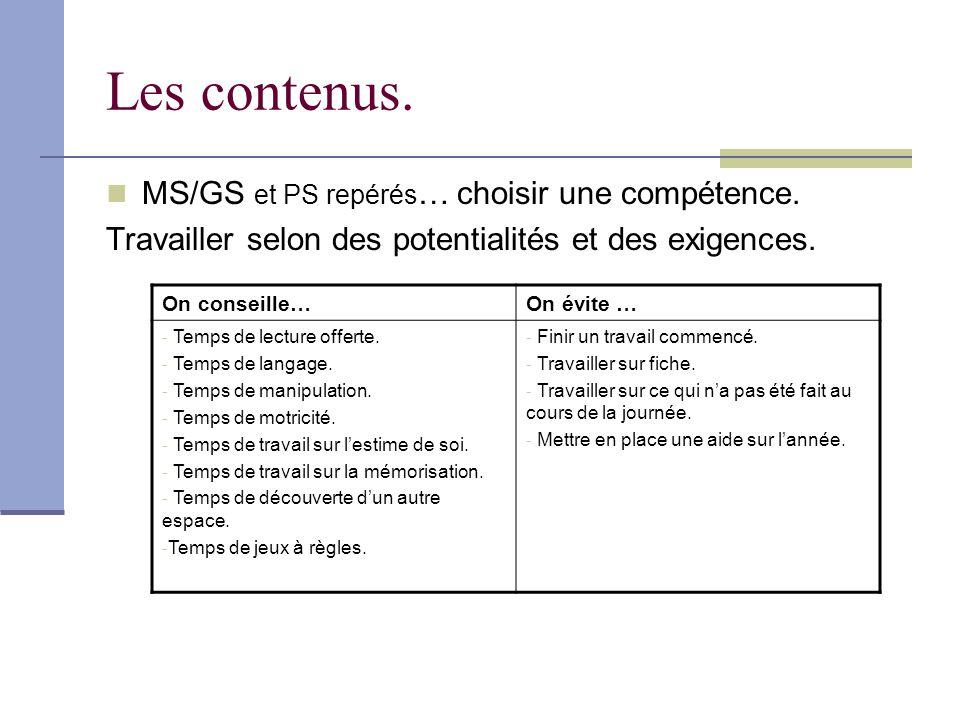 Les contenus. MS/GS et PS repérés … choisir une compétence. Travailler selon des potentialités et des exigences. On conseille…On évite … - Temps de le