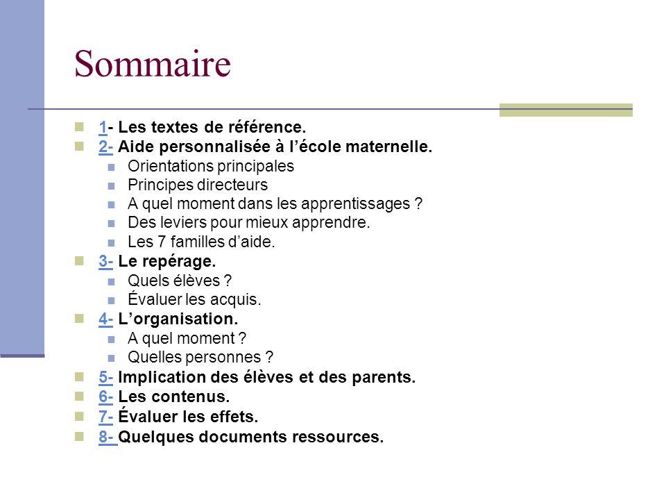 Sommaire 1- Les textes de référence. 1 2- Aide personnalisée à lécole maternelle. 2- Orientations principales Principes directeurs A quel moment dans
